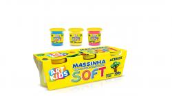 Massinha Modelar Soft Com 3 Potes 150g Cada Art Kids